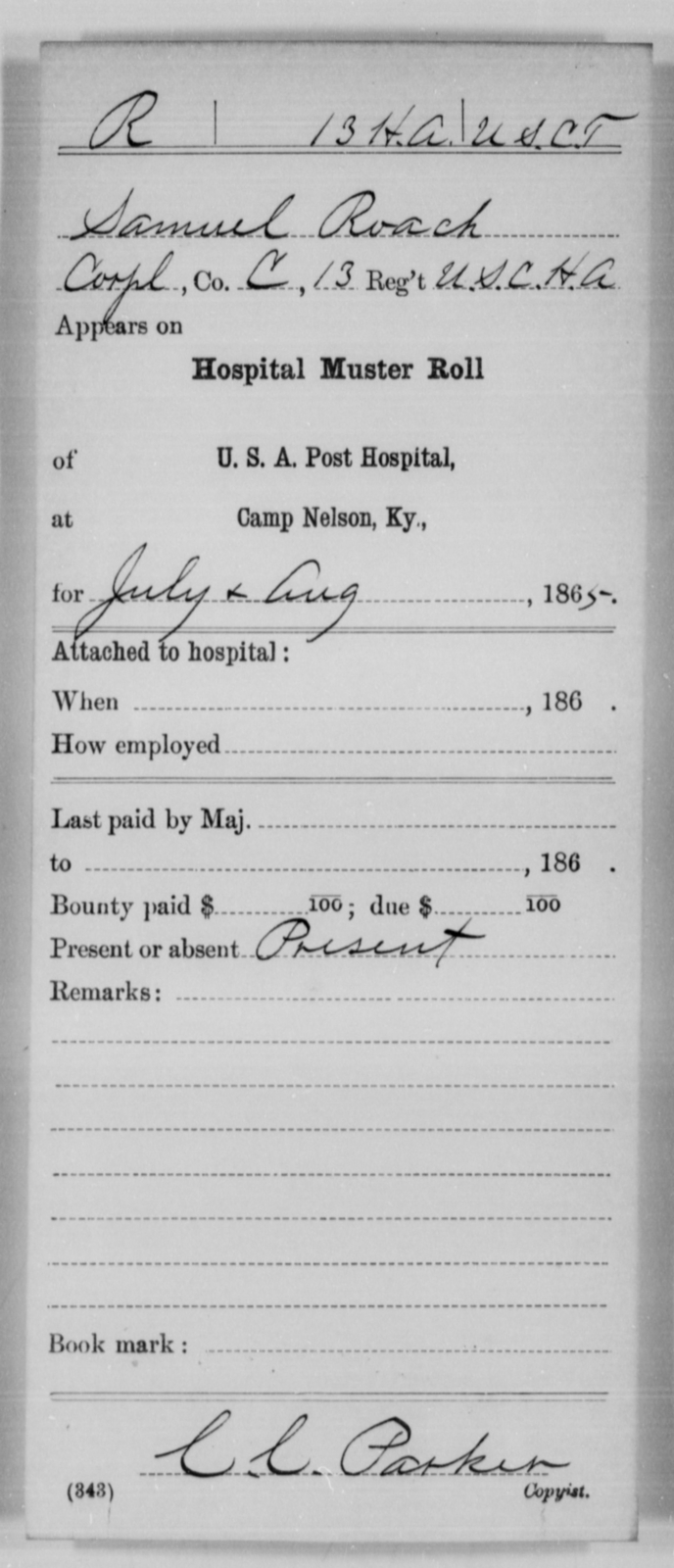 Roach, Samuel - Age [Blank], Year: 1865 - 13th US Colored Heavy Artillery, Misc Cards - United States Colored Troops: Artillery Organizations