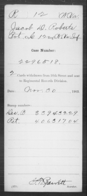 Roberts, Jacob D - Age [Blank], Year: [Blank] - Miscellaneous Card Abstracts of Records - West Virginia