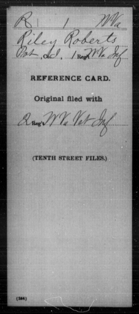 Roberts, Riley - Age [Blank], Year: [Blank] - Miscellaneous Card Abstracts of Records - West Virginia