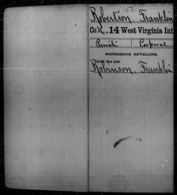 Robertson, Franklin - Age [Blank], Year: [Blank] - Fourteenth Infantry, C-Z - West Virginia