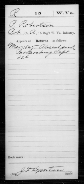 Robertson, P - Age [Blank], Year: 1865 - Miscellaneous Card Abstracts of Records - West Virginia