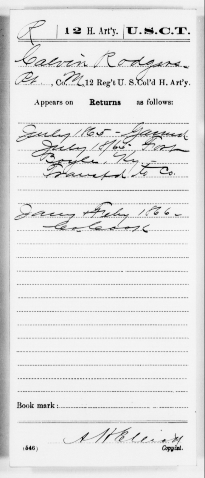 Rodgers, Calvin - Age [Blank], Year: 1865 - 12th US Colored Heavy Artillery, Misc Cards, H-Y - United States Colored Troops: Artillery Organizations