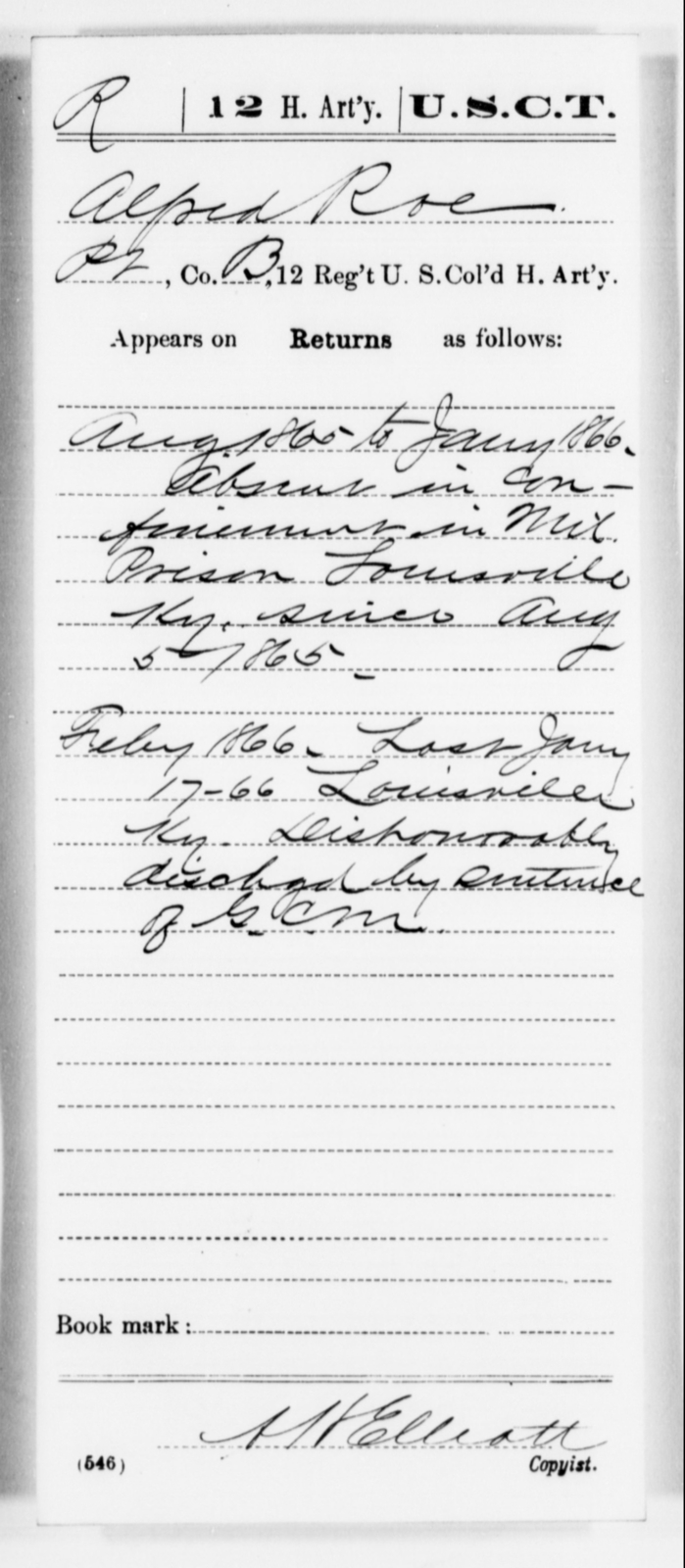 Roe, Alfred - Age [Blank], Year: 1865 - 12th US Colored Heavy Artillery, Misc Cards, H-Y - United States Colored Troops: Artillery Organizations
