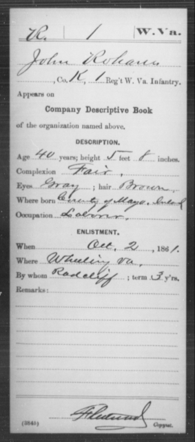 Rohann, John - Age 40, Year: 1861 - Miscellaneous Card Abstracts of Records - West Virginia