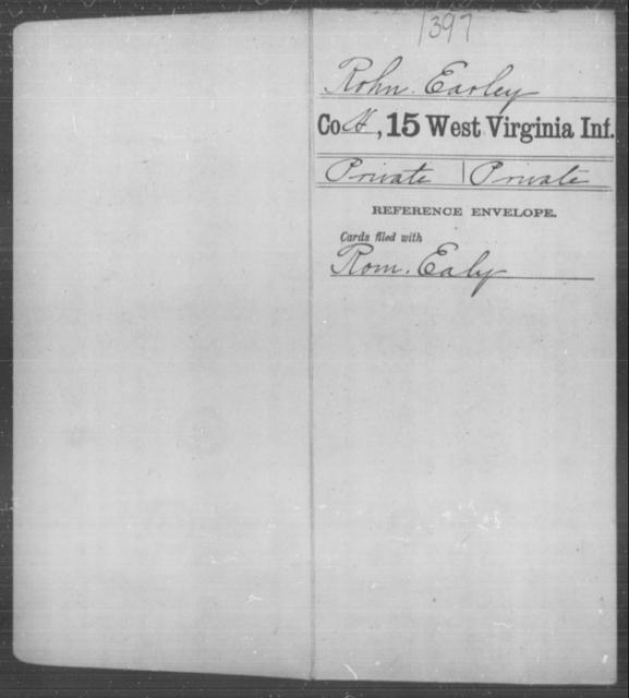 Rohn, Earley - Age [Blank], Year: [Blank] - Fifteenth Infantry - West Virginia