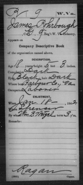 Rohrbough, James - Age 18, Year: 1862 - Miscellaneous Card Abstracts of Records - West Virginia