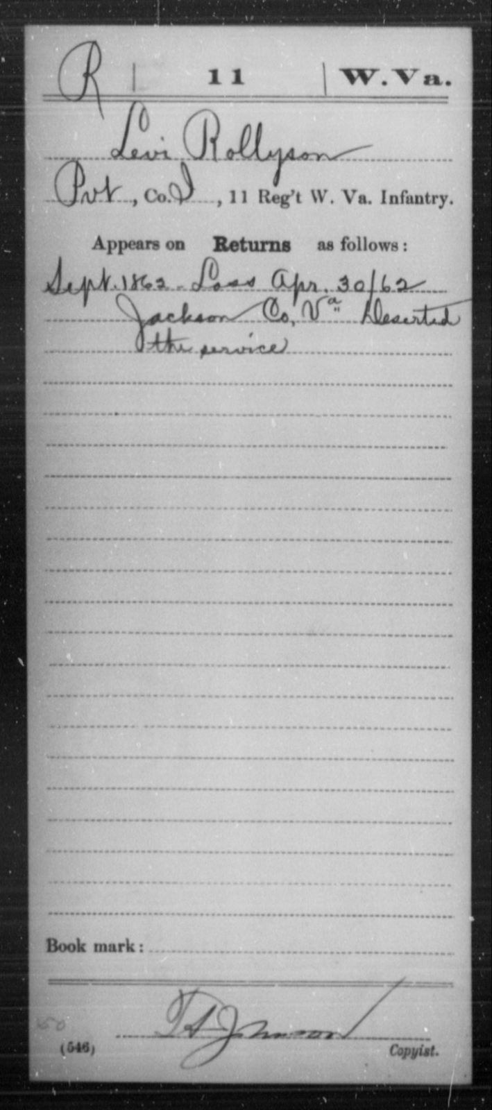 Rollyson, Levi - Age [Blank], Year: 1862 - Miscellaneous Card Abstracts of Records - West Virginia