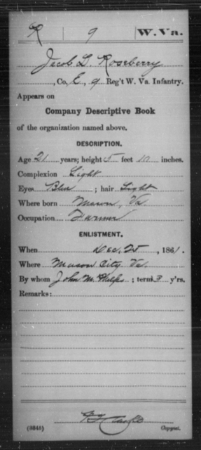 Roseberry, Jacob D - Age 21, Year: 1861 - Miscellaneous Card Abstracts of Records - West Virginia