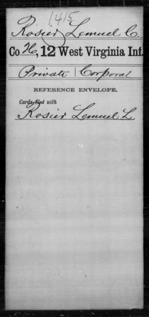 Rosier, Lemuel C - Age [Blank], Year: [Blank] - Twelfth Infantry - West Virginia