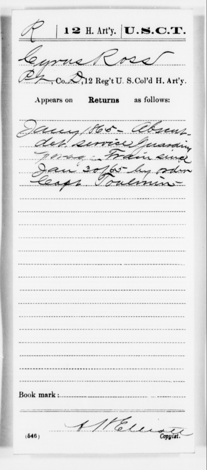 Ross, Cyrus - Age [Blank], Year: 1865 - 12th US Colored Heavy Artillery, Misc Cards, H-Y - United States Colored Troops: Artillery Organizations
