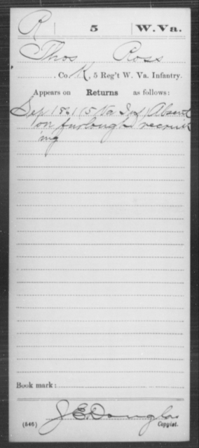Ross, Thos - Age [Blank], Year: 1861 - Miscellaneous Card Abstracts of Records - West Virginia