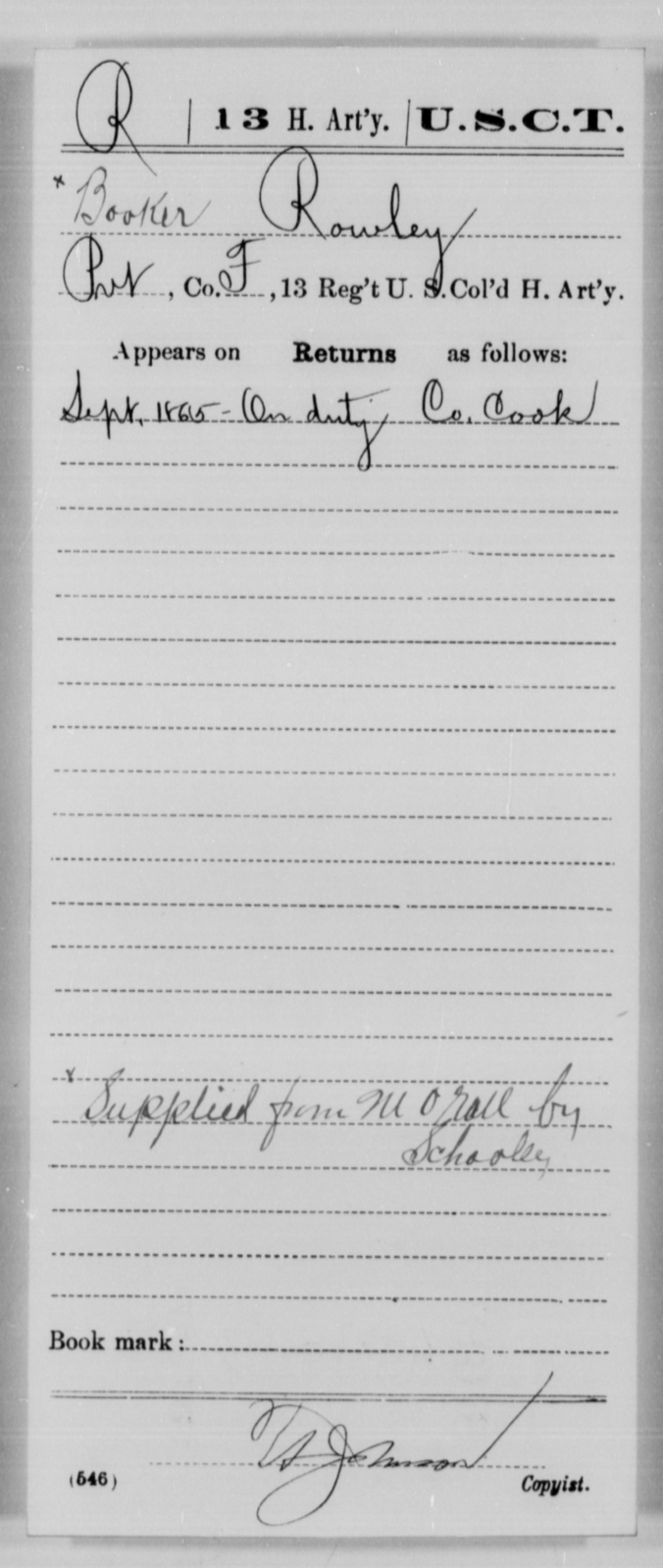 Rowley, Booker - Age [Blank], Year: 1865 - 13th US Colored Heavy Artillery, Misc Cards - United States Colored Troops: Artillery Organizations