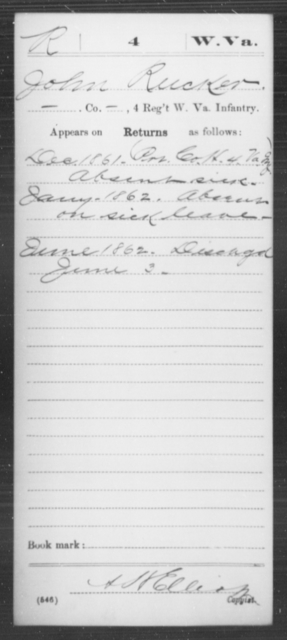 Rucker, John - Age [Blank], Year: 1861 - Miscellaneous Card Abstracts of Records - West Virginia
