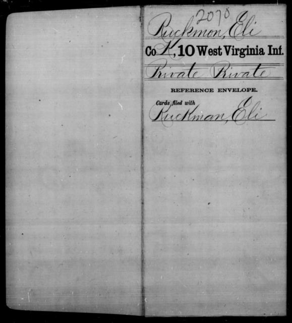 Ruckmon, Eli - Age [Blank], Year: [Blank] - Tenth Infantry - West Virginia