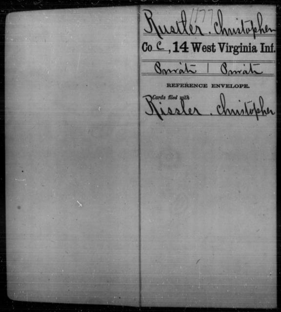 Rustler, Christopher - Age [Blank], Year: [Blank] - Fourteenth Infantry, C-Z - West Virginia