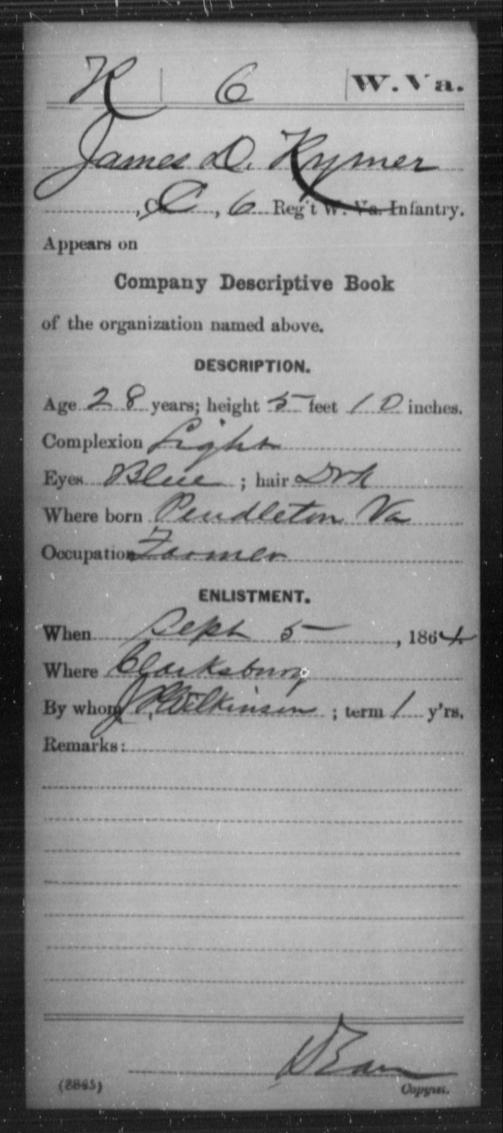 Rymer, James D - Age 28, Year: 1864 - Miscellaneous Card Abstracts of Records - West Virginia