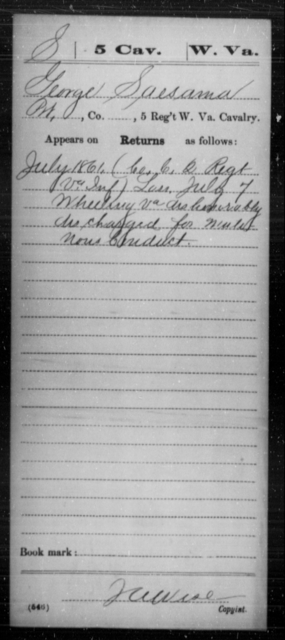 Saesama, George - Age [Blank], Year: 1861 - Miscellaneous Card Abstracts of Records - West Virginia