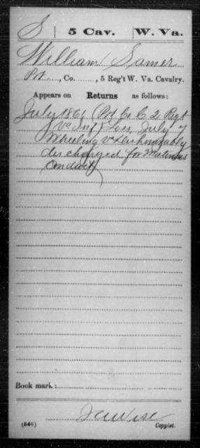 Samer, William - Age [Blank], Year: 1861 - Miscellaneous Card Abstracts of Records - West Virginia