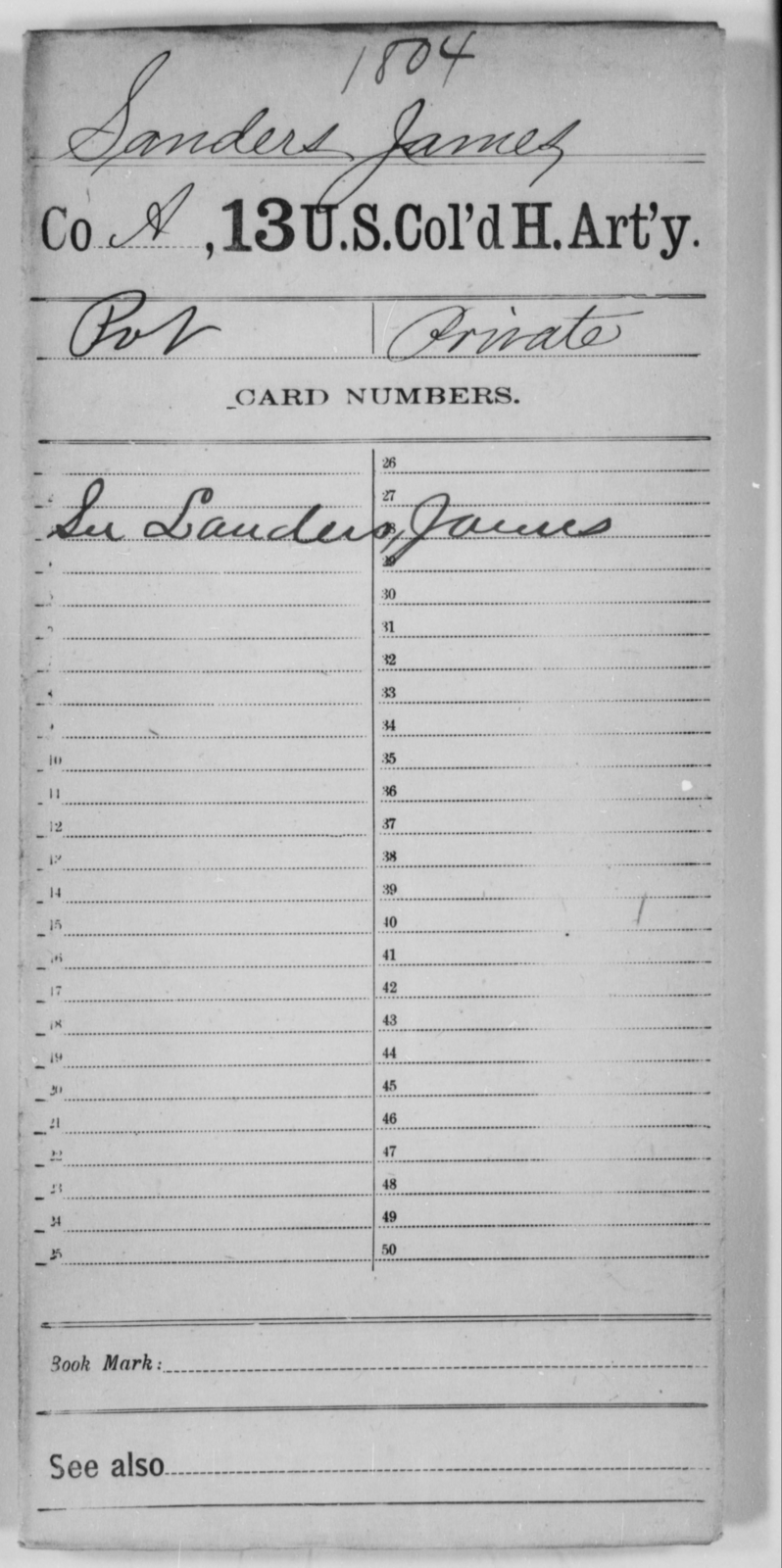 Sanders, James - Age [Blank], Year: [Blank] - 13th US Colored Heavy Artillery - United States Colored Troops: Artillery Organizations