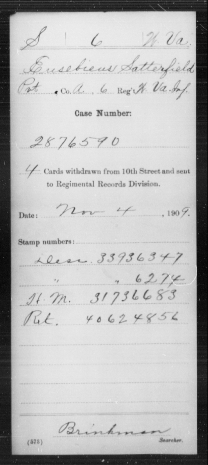 Satterfield, Eusebieus - Age [Blank], Year: [Blank] - Miscellaneous Card Abstracts of Records - West Virginia