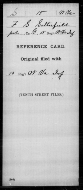 Satterfield, F S - Age [Blank], Year: [Blank] - Miscellaneous Card Abstracts of Records - West Virginia