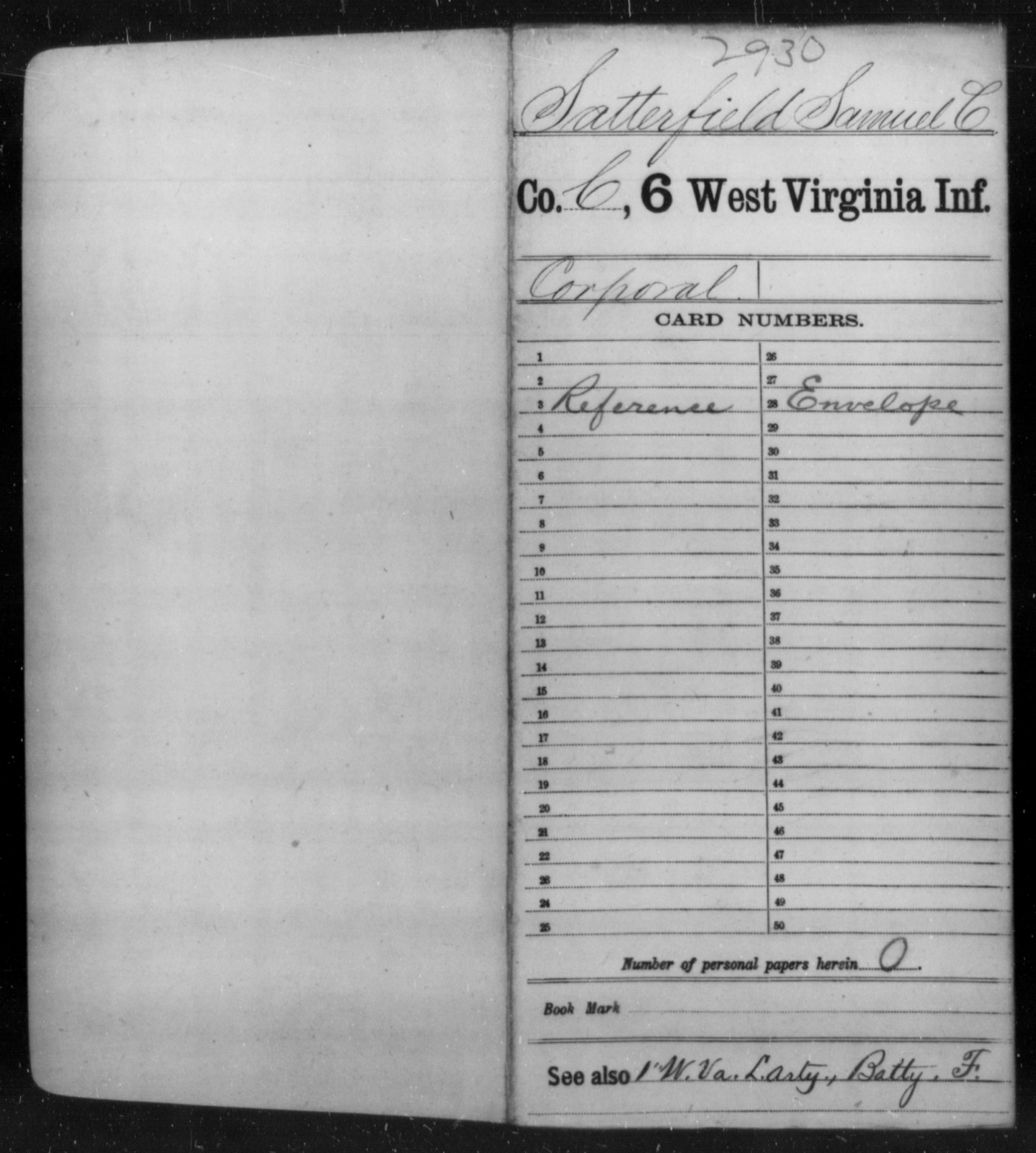 Satterfield, Samuel C - Age [Blank], Year: [Blank] - Sixth Infantry - West Virginia