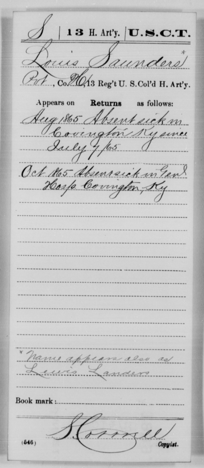Saunders, Louis - Age [Blank], Year: 1865 - 13th US Colored Heavy Artillery, Misc Cards - United States Colored Troops: Artillery Organizations
