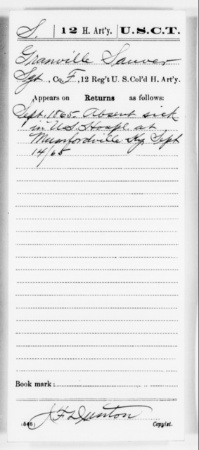 Sauver, Granville - Age [Blank], Year: 1865 - 12th US Colored Heavy Artillery, Misc Cards, H-Y - United States Colored Troops: Artillery Organizations
