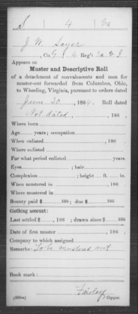 Sayer, J W - Age [Blank], Year: 1864 - Miscellaneous Card Abstracts of Records - West Virginia