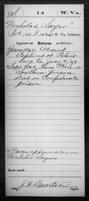 Sayer, Nicholas - Age [Blank], Year: 1864 - Miscellaneous Card Abstracts of Records - West Virginia