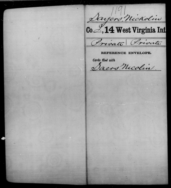 Sayers, Nickolin - Age [Blank], Year: [Blank] - Fourteenth Infantry, C-Z - West Virginia