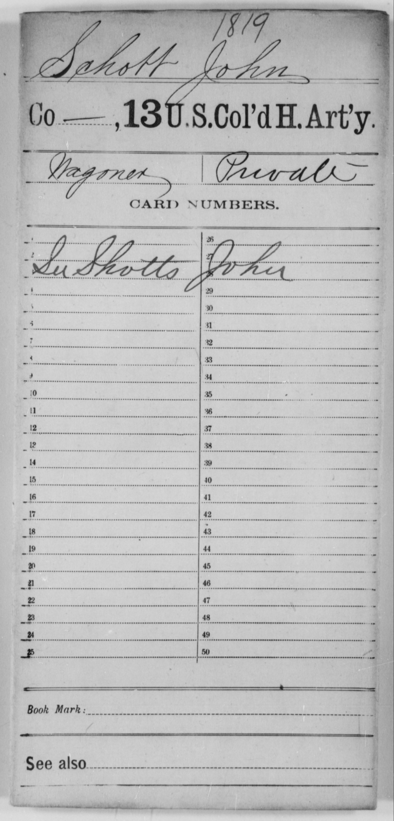 Schott, John - Age [Blank], Year: [Blank] - 13th US Colored Heavy Artillery - United States Colored Troops: Artillery Organizations