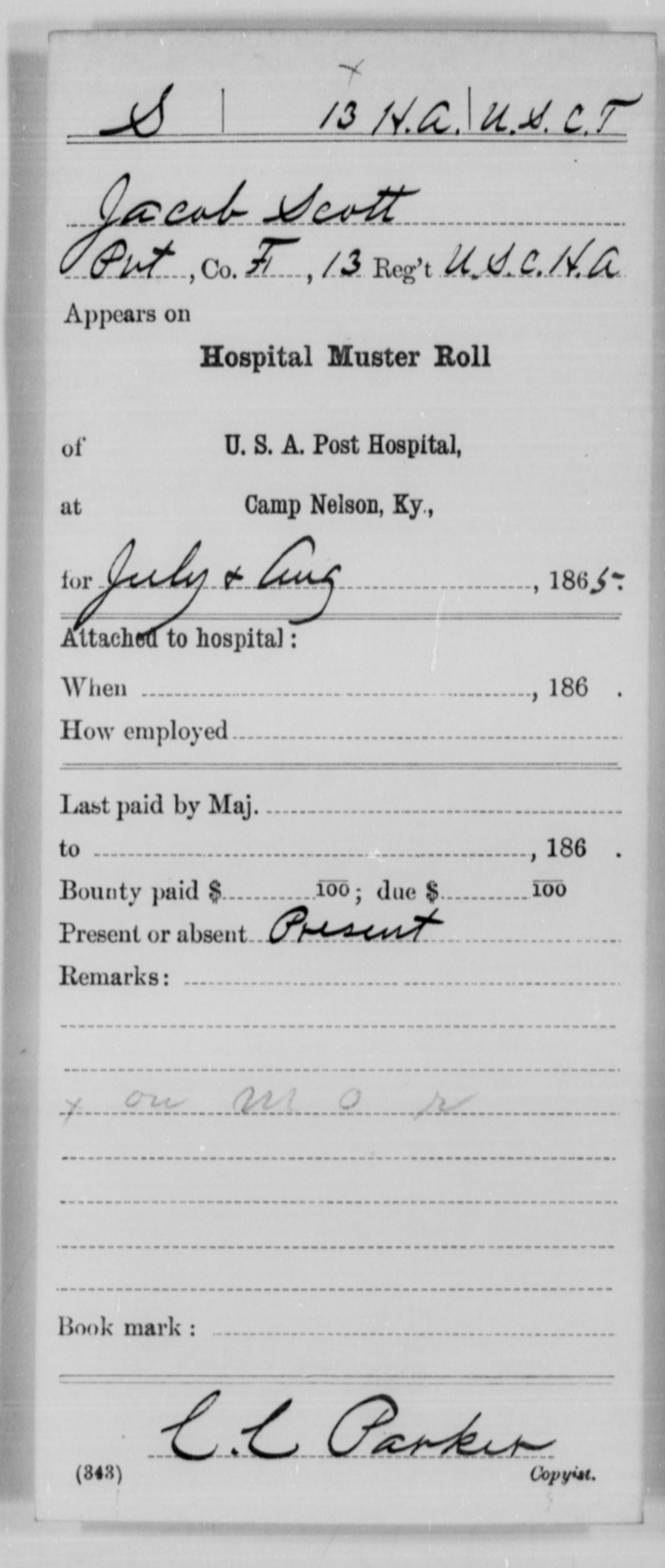 Scott, Jacob - Age [Blank], Year: 1865 - 13th US Colored Heavy Artillery, Misc Cards - United States Colored Troops: Artillery Organizations
