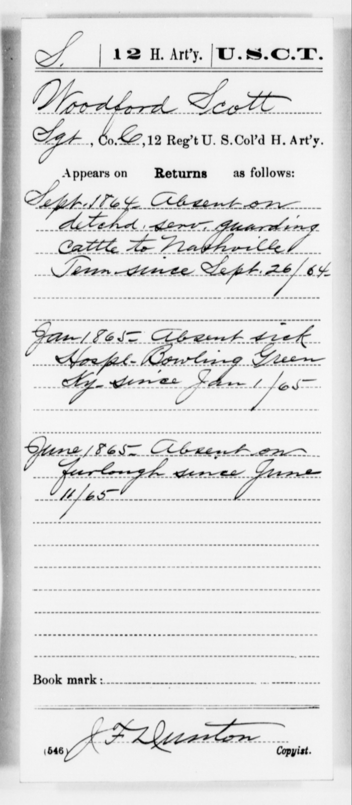 Scott, Woodford - Age [Blank], Year: 1864 - 12th US Colored Heavy Artillery, Misc Cards, H-Y - United States Colored Troops: Artillery Organizations