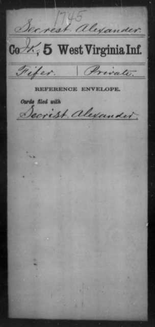 Secrest, Alexander - Age [Blank], Year: [Blank] - Fifth Infantry - West Virginia