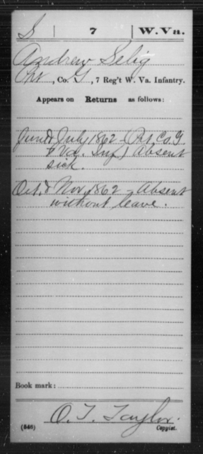 Selig, Andrew - Age [Blank], Year: 1862 - Miscellaneous Card Abstracts of Records - West Virginia