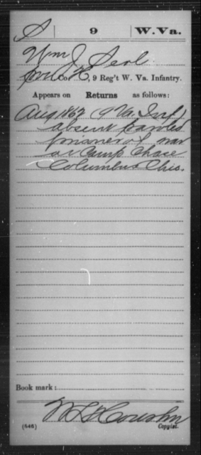Serl, Wm J - Age [Blank], Year: 1862 - Miscellaneous Card Abstracts of Records - West Virginia