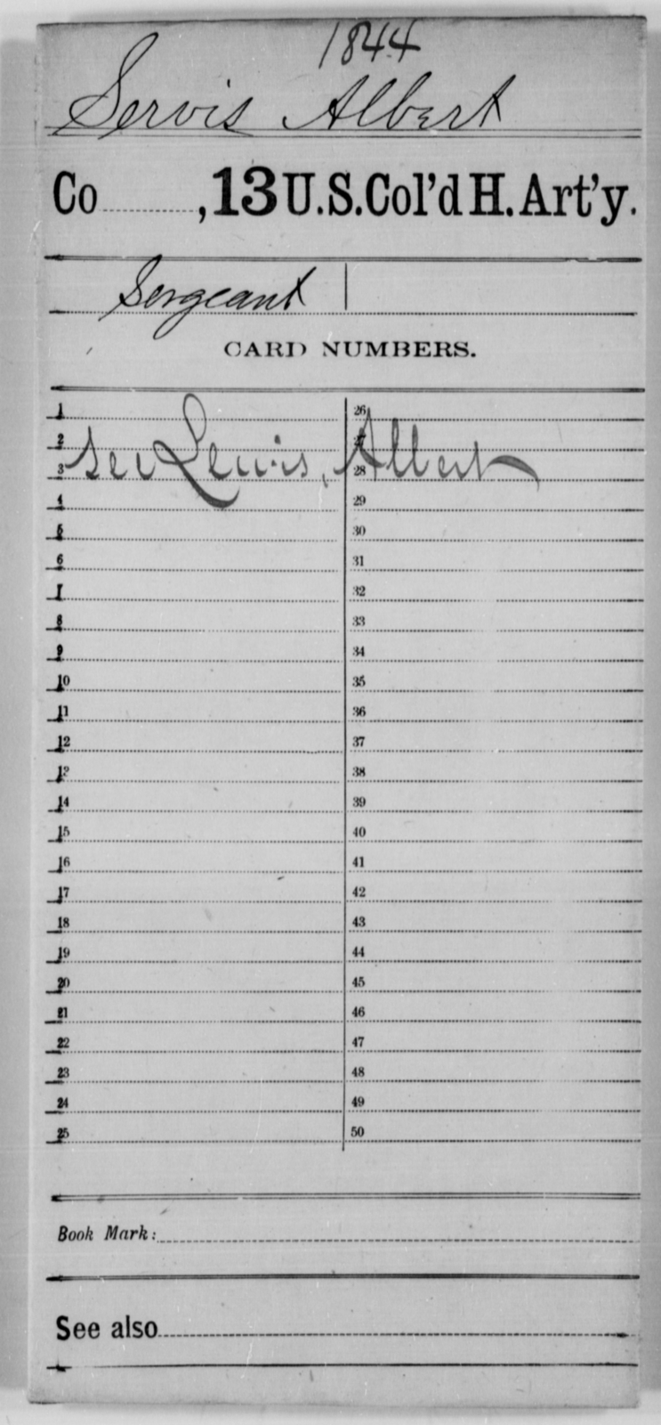Servis, Albert - Age [Blank], Year: [Blank] - 13th US Colored Heavy Artillery - United States Colored Troops: Artillery Organizations
