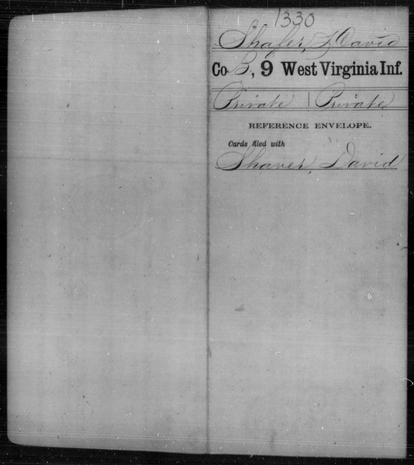Shafer, David - Age [Blank], Year: [Blank] - Ninth Infantry - West Virginia