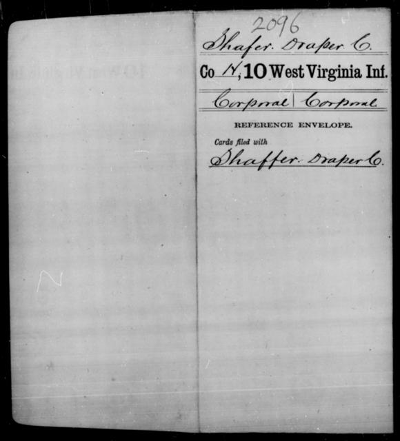 Shafer, Draper C - Age [Blank], Year: [Blank] - Tenth Infantry - West Virginia