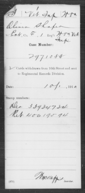 Shafer, Oliver - Age [Blank], Year: [Blank] - Miscellaneous Card Abstracts of Records - West Virginia
