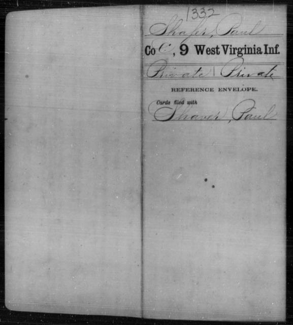 Shafer, Paul - Age [Blank], Year: [Blank] - Ninth Infantry - West Virginia