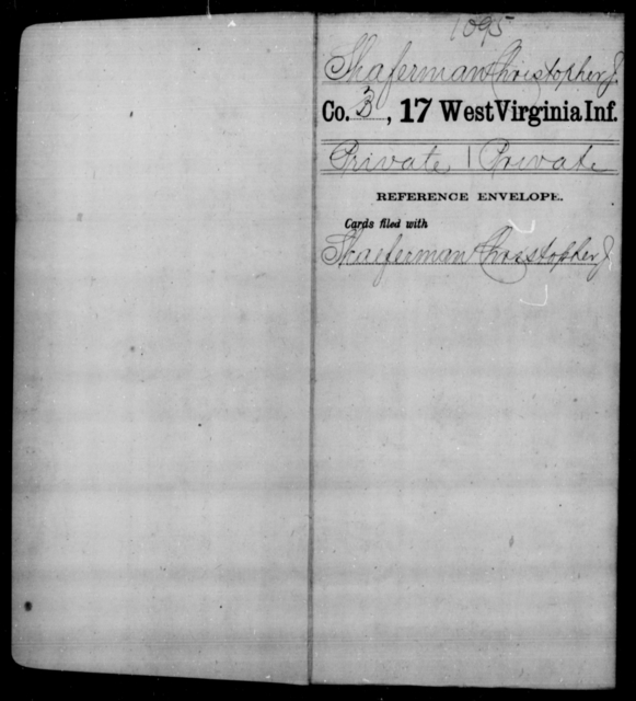 Shaferman, Christopher J - Age [Blank], Year: [Blank] - Seventeenth Infantry - West Virginia
