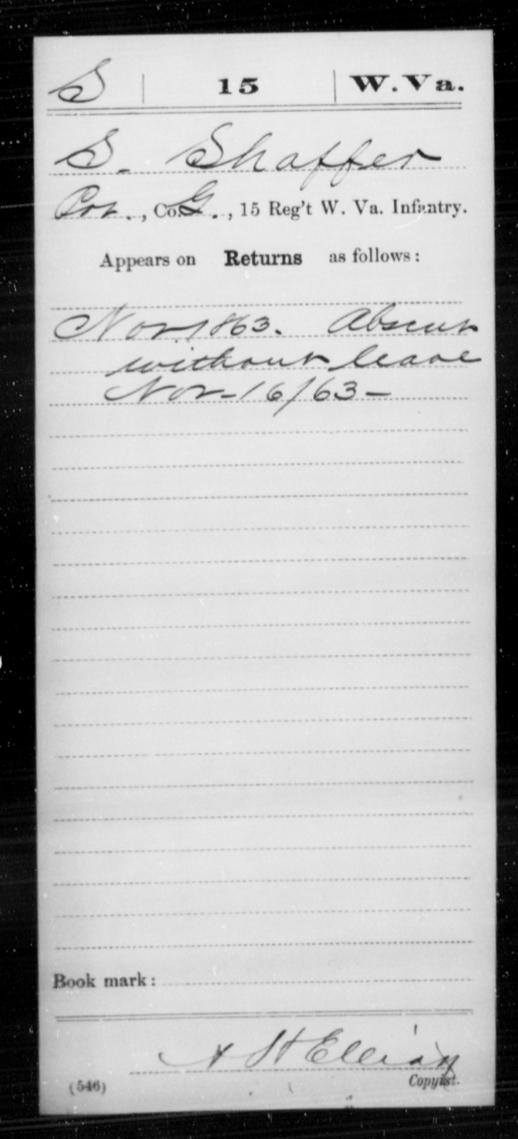 Shaffer, S - Age [Blank], Year: 1863 - Miscellaneous Card Abstracts of Records - West Virginia
