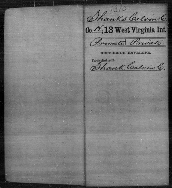 Shanks, Calvin C - Age [Blank], Year: [Blank] - Thirteenth Infantry, A-W - West Virginia
