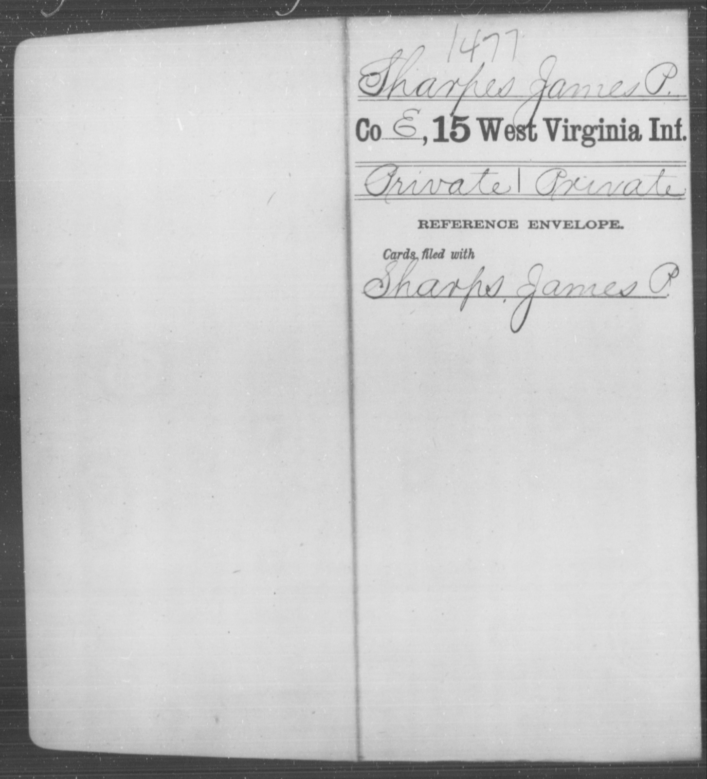 Sharpes, James P - Age [Blank], Year: [Blank] - Fifteenth Infantry - West Virginia
