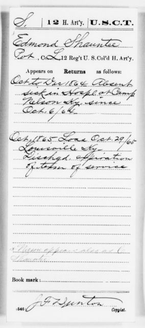 Shauntee, Edmond - Age [Blank], Year: 1864 - 12th US Colored Heavy Artillery, Misc Cards, H-Y - United States Colored Troops: Artillery Organizations