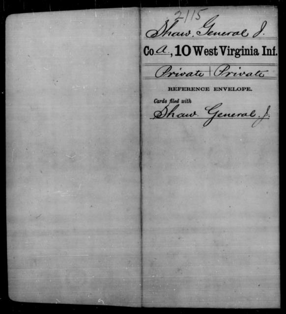 Shaw, General J - Age [Blank], Year: [Blank] - Tenth Infantry - West Virginia