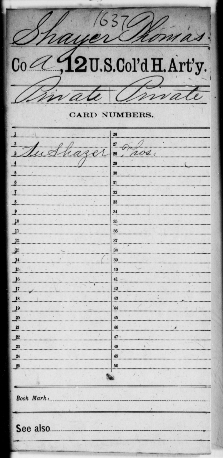Shayer, Thomas - Age [Blank], Year: [Blank] - 12th US Colored Heavy Artillery - United States Colored Troops: Artillery Organizations
