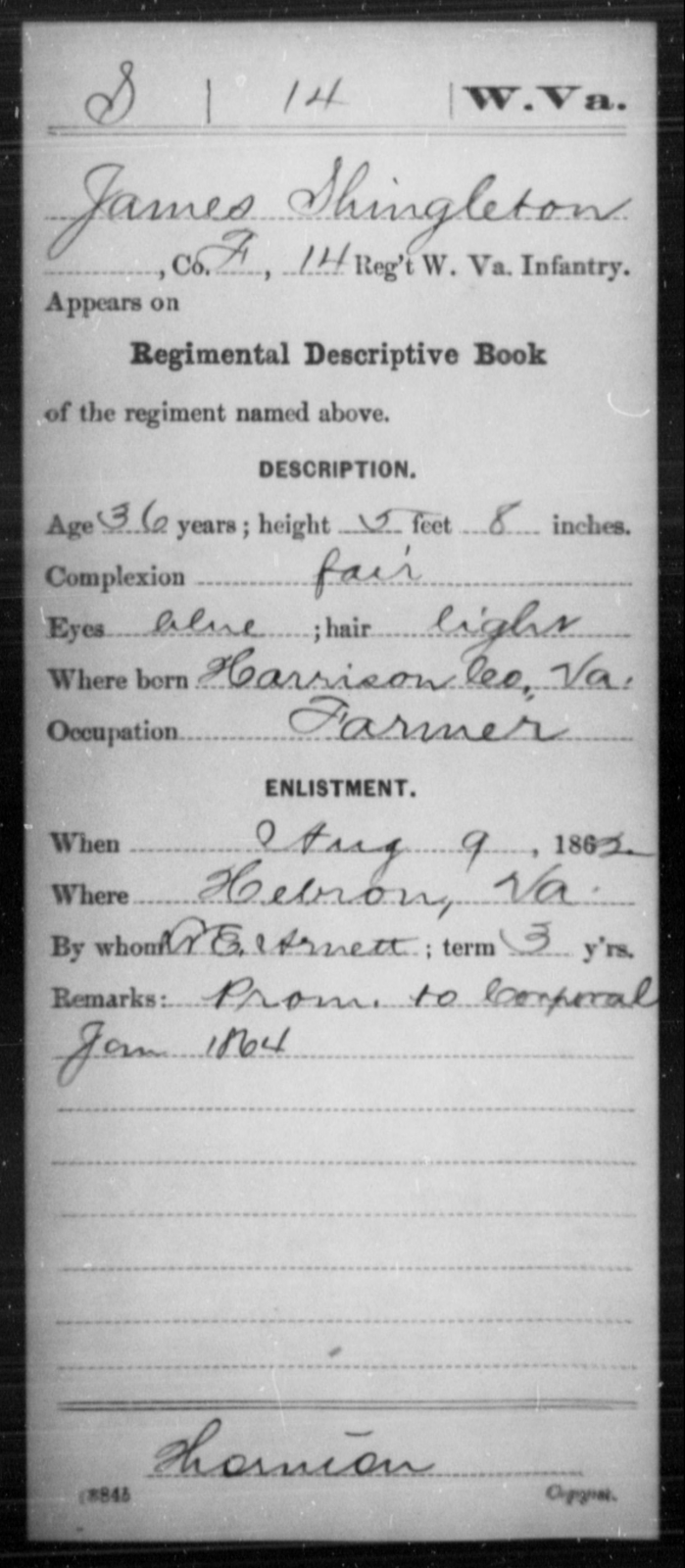 Shingleton, James - Age 36, Year: 1862 - Miscellaneous Card Abstracts of Records - West Virginia